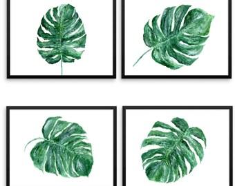 Monstera Leaf Printable Wall Art, Set of 4 Prints