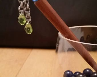 Green & Blue Beaded Chainmaille Hairstick