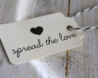 Spread the Love, MEDIUM, Wedding Favor Tags, Wedding Favor, Favor Tags, Kraft Tags, Wedding Tags