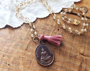 Long Buddha Tassel Necklace - boho necklace mala necklace buddha necklace protection amulet meditation jewelry