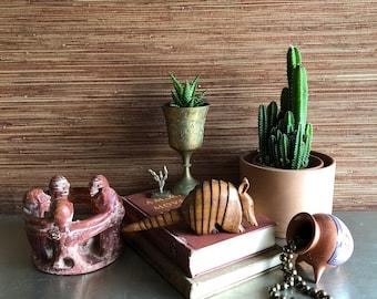 vintage wood armadillo figurine