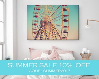 Girl nursery decor/Luxury wall decor Ferris Wheel art photography/large canvas art/nursery wall art, coral nursery decor, pink nursery decor