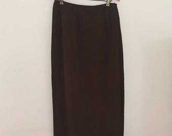 Olive Green Silk Maxi-Skirt -  Early 90s