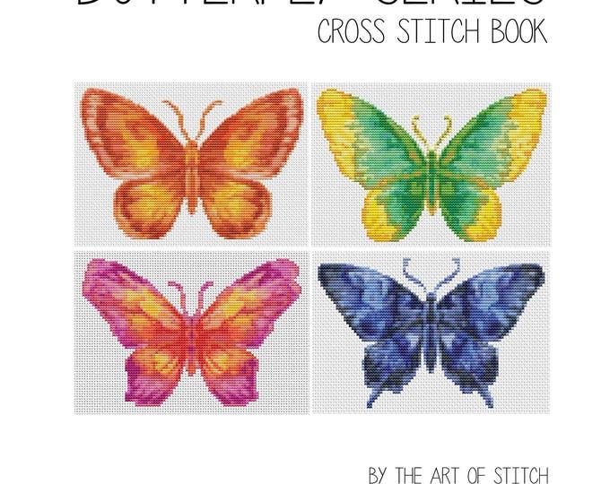 Cross Stitch Pattern PDF Set Butterfly Series, Cross Stitch, Art Cross Stitch, 4 Butterflies (BOOK05)