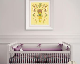 Bailey Bear – a printable bear wall art poster with a beautiful flowered wreath.  Perfect for a hipster, woodland nursery.