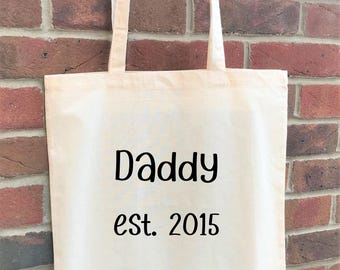 Personalised daddy tote, perfect father's day gift for dad or as an alternative baby shower gift for a dad to be.  Daddy tote/new dad bag