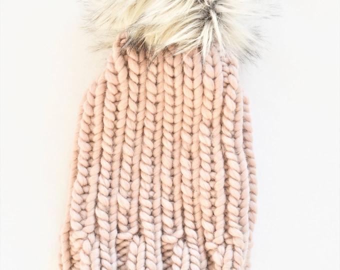 Chunky Knit Pom Pom Beanie | Unisex Beanie | Wool Knit Beanie | Knitted Hat