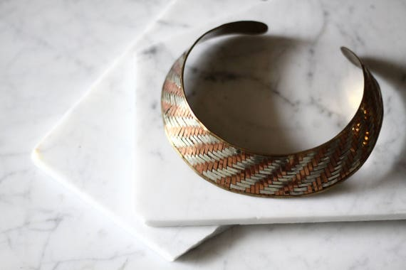 1970s woven choker necklace // 1970s silver and copper choker // vintage jewlery