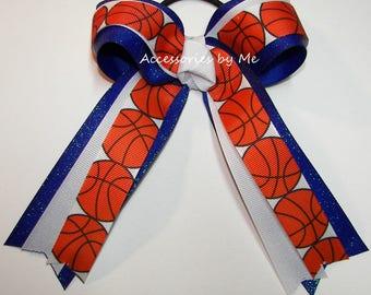 Bulk Price, Basketball Blue Ponytail Bow, Sparkly Basketball Hair Clips, Wholesale Basket Ball Ribbons, Knicks Basketball Team Colors Bows