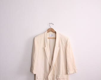 Double Breasted Linen Blazer Jacket