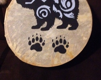 Healing Bear Drum Hand Painted