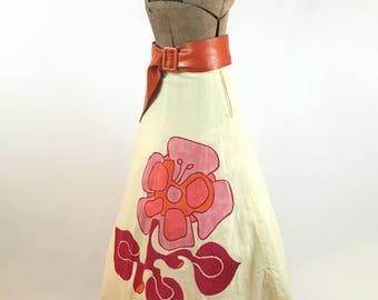 Hand Painted Skirt Signed 1960s Mod Hand Painted Skirt Muslin Mod Pink Orange Flower Power Artist Signed Size S Late 1960s Flared Skirt