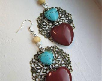 Delicate Metal Filigree Beaded Heart Charm Dangle Earrings
