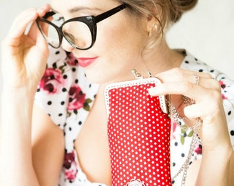 Glasses case | cell phone | red polka dots | purse