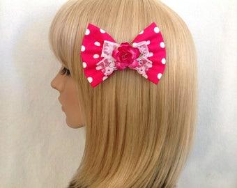 Hot pink white polka dot rose hair bow clip rockabilly Lolita lace pin up girl kawaii kitsch retro vintage shabby chic pretty flower