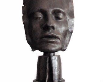 1980s Bronze Sculpture by Dale Dunning Signed Limited Edition 3 of 7 Bronze Life Face Mask Sculpture