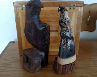Two Wooden Eagle Sculptures