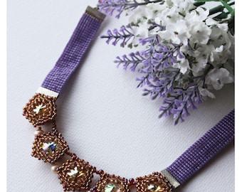 Purple rivoli necklace, crystal necklace, crystal choker, seedbead necklace, near the neck collar, star necklace, Beadwoven necklace