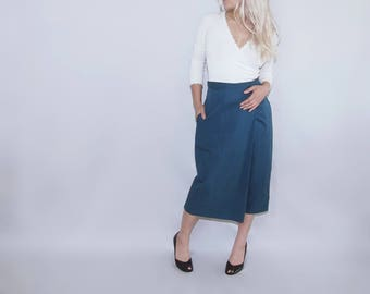 Asymmetrical wide wrap leg capris pants trousers skirt