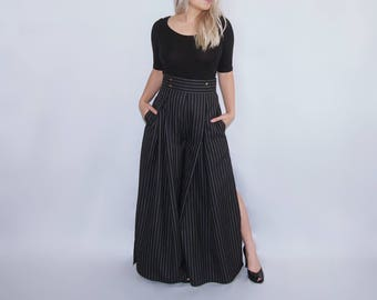 Flowy High waist wide leg pinstripe pants trousers