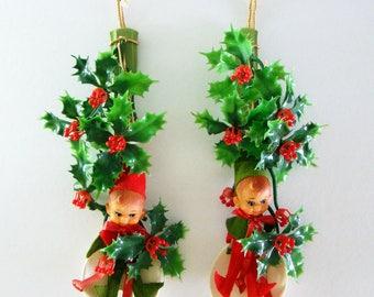 Vintage Christmas Elves Wall Decor, Kitschy Christmas Wall Hanging, 1950s Elf on a Fork & Spoon Set, Japan