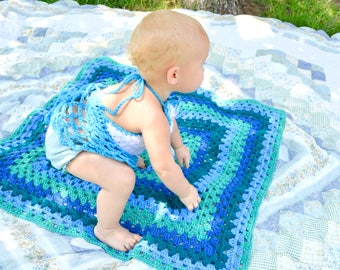 Sea Colors Crochet Baby Blanket Handmade Granny Square Afghan - Ocean Aqua Turquoise Teal Aquamarine Nursing Cover Shower Gift Nursery Decor