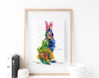 Rabbit art print - rabbit wall decor, nursery animal art, colorful rabbit, bunny art, rabbit lover gift, whimsical rabbit art, bunny rabbit
