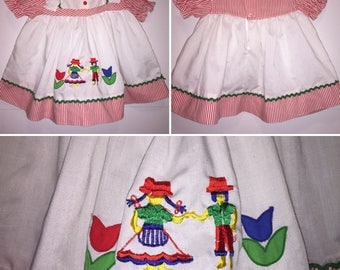 CELANESE FORTREL Vintage Girl's Dress Size 6-9 Months Scandinavian Traditional Folk Art