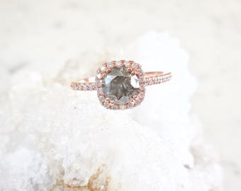Salt and Pepper Diamond Ring - Diamond Halo and Band, Rose Gold, Square Halo, Engagement Ring, Salt and Pepper, Modern Engagement