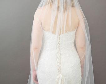 Elegant Soft Silky Wedding Veil, Simple Single Tier Veil, Silk Style Veil, Cut