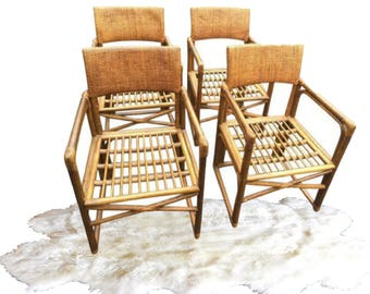 Vintage Bamboo Chairs Rattan Chairs Armchairs Dining Or Patio Garden Set  (4) Bohemian Modern