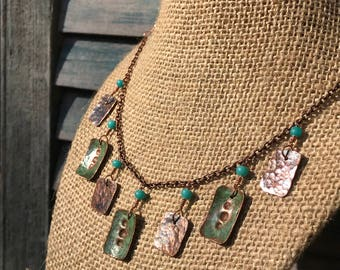 Recycled Copper Necklace with Natural Verdigris Patina