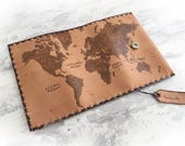 World Map Leather Tobacco Pouch, Pipe Pouch, Wallet Case, Pyrography Leather, Portatabacco, Anime case, Tabakbeutel, Handmade