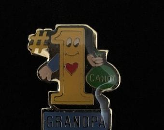 "Vintage ""#1 Grandpa"" Hat/Lapel Pin (Tier 2)"
