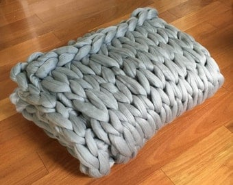 Shep's Wool Arm Knit Merino Wool Chunky Blanket, Choose size and Color! Throw Twin, Queen, King, Photorgaphy Prop