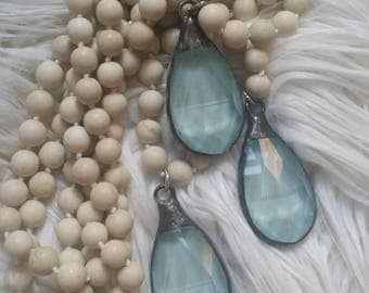 The Vintage Junkie...Stone beaded necklace with Robin's Egg Blue Hand Painted Soldered  Crystal pendants...BoHo layering necklaces