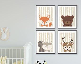 Birch Tree Woodland Animals Nursery, Wilderness Nursery, Forest Friends, Modern Woodland Wall Art, Toddler Decor, Fox Deer Bear Squirrel