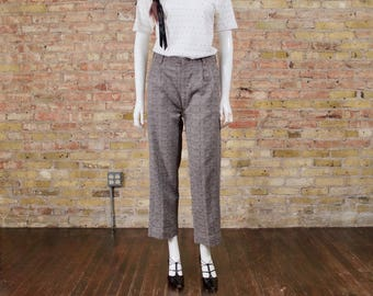 grey pleated trousers / high waist trousers / textured pants / cropped trousers / tweed trousers / high rise trousers / woven trousers