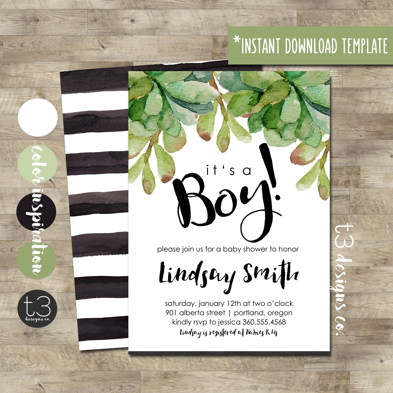 Boy Baby Shower Invitation, modern baby shower invite, DIY PDF ...