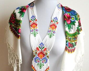 Gerdan necklace, folk necklace, long necklace, flower necklace, polish necklace, rainbow necklace, folk style, Ukrainian necklace, Seed bead