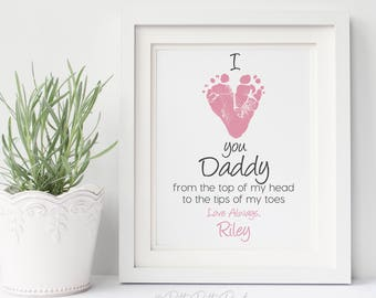 Gift for Dad from Daughter, First Father's Day Gift for New Daddy, I Love You Baby Footprint Art Print, Your Child's Feet 8x10 inch UNFRAMED
