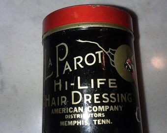 "LA PAROT Hi-LIFE Hair Dressing Vintage Tin   1/2"" x 2"""