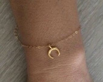 Double Horn Bracelet, Gold Anklet, Gold Bracelet, Thin Bracelets