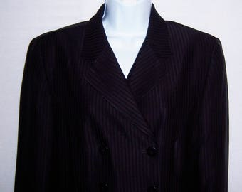 Vintage DKNY Donna Karan Black Equestrian Riding Habit Tuxedo Double Breasted Black Black Striped Coat Jacket Blazer 10 Coat Dress Grunge