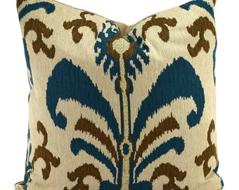 Teal, Golden Brown & Beige Woven Chenille Ikat Throw Pillow Cover, 24x24, Moroccan Pillow Covers
