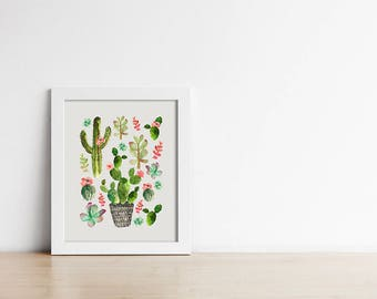 Cactus Art Print - Kitchen Wall Art - Botanical Decor - Printable Download - Southwestern Decor - Gallery Wall - Wall Art -  SKU:9566