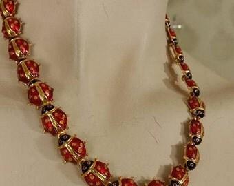 Beautiful unique ladybug enameled necklace choker