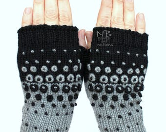 Hand Knitted Fingerless Gloves, Black, Gray, Dots, Ornament, Embroidered Pattern, Clothing And Accessories, Gloves & Mittens, Gift Ideas
