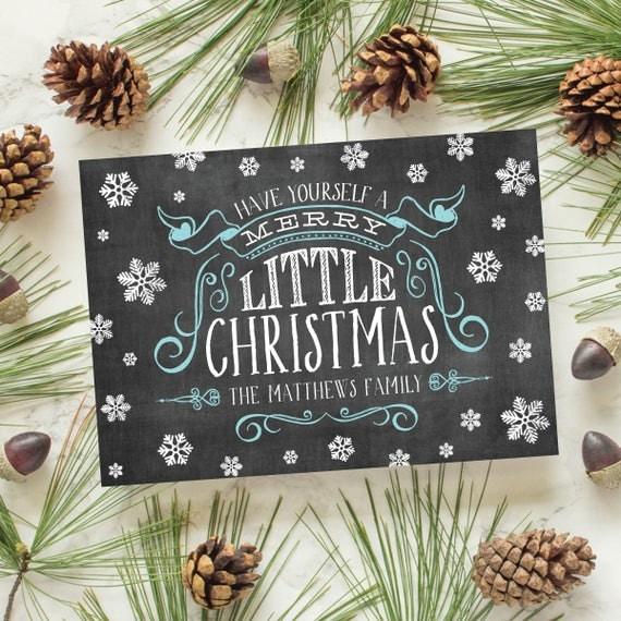 Chalkboard Christmas Card, Vintage Chalkboard, Elegant Christmas Card, Chalkboard Holiday Card - Chalk & Snow