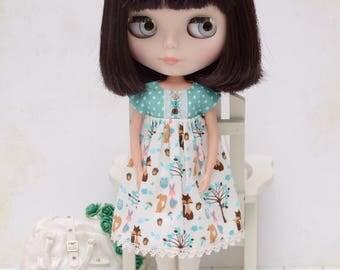 Cute woodland print empire dress for Blythe